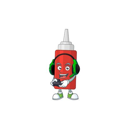 A cartoon design of sauce bottle clever gamer play wearing headphone. Vector illustration