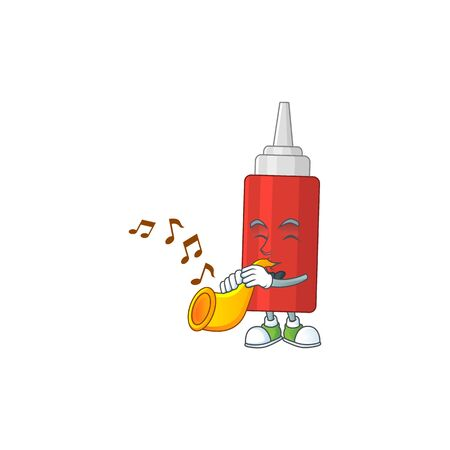 Talented musician of sauce bottle mascot design playing music with a trumpet. Vector illustration 일러스트