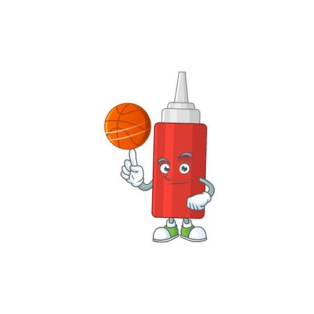 An sporty sauce bottle mascot design style playing basketball on league. Vector illustration  イラスト・ベクター素材