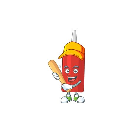 cartoon design concept of sauce bottle playing baseball with stick. Vector illustration