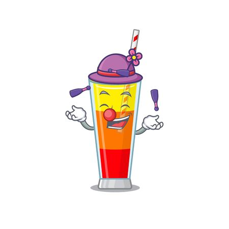 A tequila sunrise cocktail cartoon design style succeed playing juggling. Vector illustration