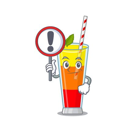 A cartoon icon of tequila sunrise cocktail with a exclamation sign board. Vector illustration