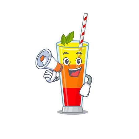 Mascot design of tequila sunrise cocktail announcing new products on a megaphone. Vector illustration Vectores
