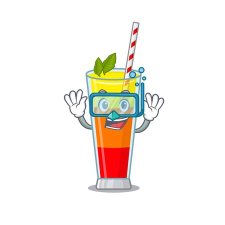Tequila sunrise cocktail mascot design swims with diving glasses. Vector illustration