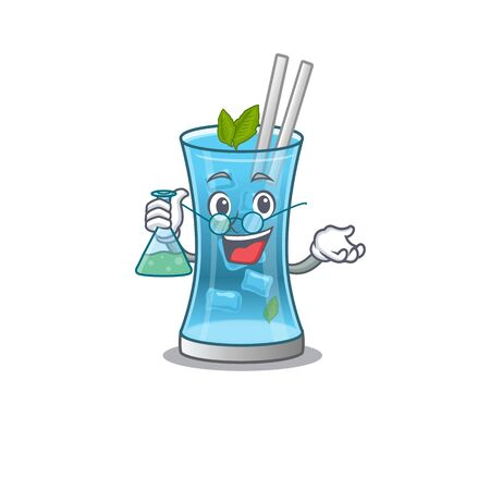 caricature character of blue hawai cocktail smart Professor working on a lab. Vector illustration Stock Illustratie