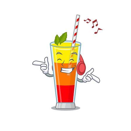 Tequila sunrise cocktail Cartoon design concept listening music on headphone. Vector illustration
