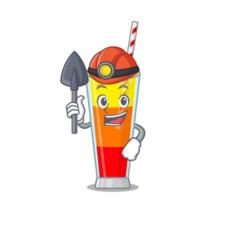 A cartoon picture of tequila sunrise cocktail miner with tool and helmet. Vector illustration Çizim