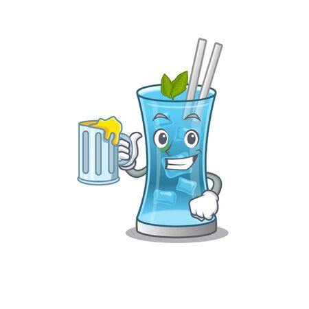 A cartoon concept of blue hawai cocktail with a glass of beer. Vector illustration Stock Illustratie