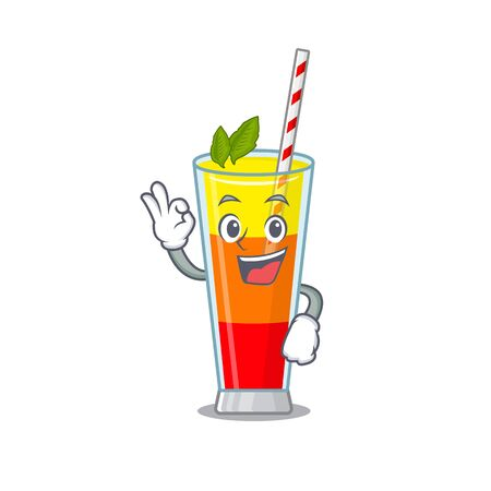 Tequila sunrise cocktail mascot design style showing Okay gesture finger. Vector illustration