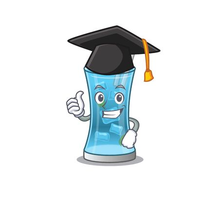 Happy proud of blue hawai cocktail caricature design with hat for graduation ceremony. Vector illustration