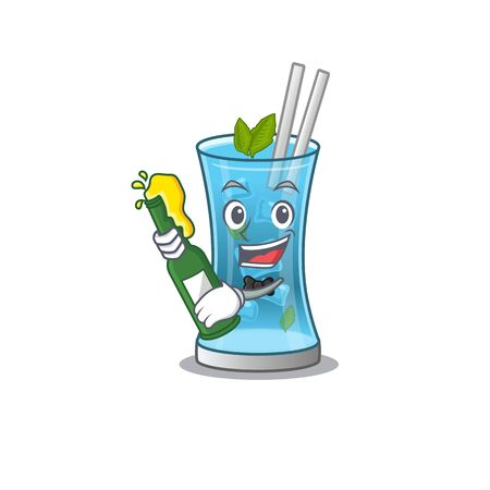 caricature design concept of blue hawai cocktail cheers with bottle of beer. Vector illustration