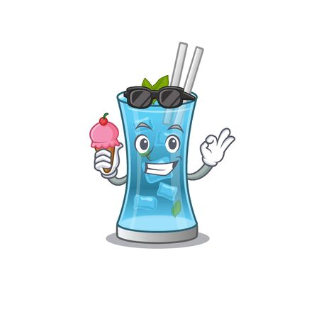 A cartoon drawing of blue hawai cocktail holding cone ice cream. Vector illustration