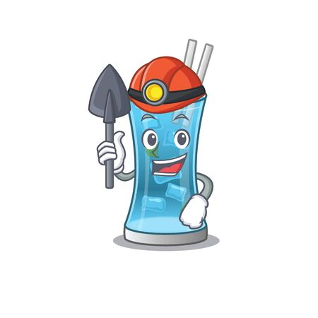 A cartoon picture of blue hawai cocktail miner with tool and helmet. Vector illustration
