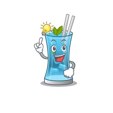 Mascot character of smart blue hawai cocktail has an idea gesture. Vector illustration