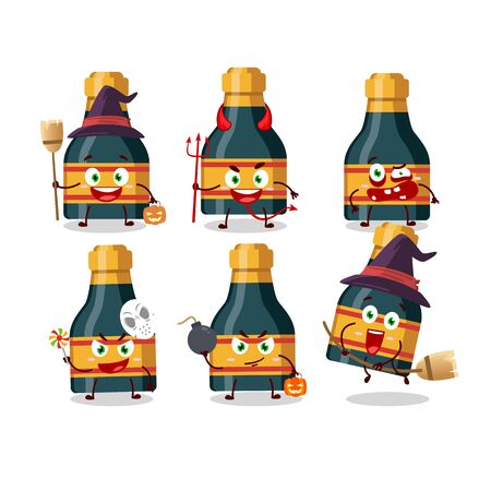 Halloween expression emoticons with cartoon character of wine bottle. Vector illustration