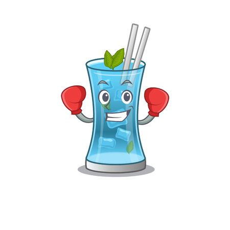 Mascot design of blue hawai cocktail as a sporty boxing athlete. Vector illustration