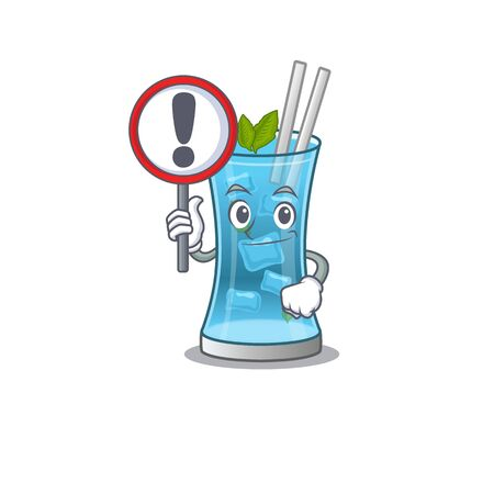 A cartoon icon of blue hawai cocktail with a exclamation sign board. Vector illustration