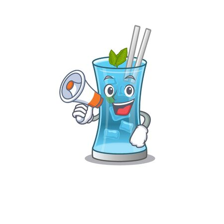 Mascot design of blue hawai cocktail announcing new products on a megaphone. Vector illustration
