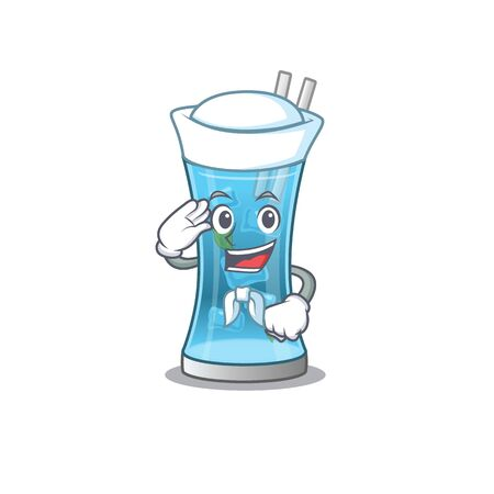 Smiley sailor cartoon character of blue hawai cocktail wearing white hat and tie. Vector illustration