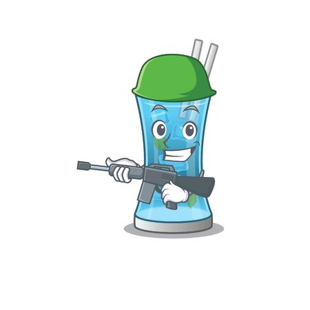 A cartoon picture of Army blue hawai cocktail holding machine gun. Vector illustration