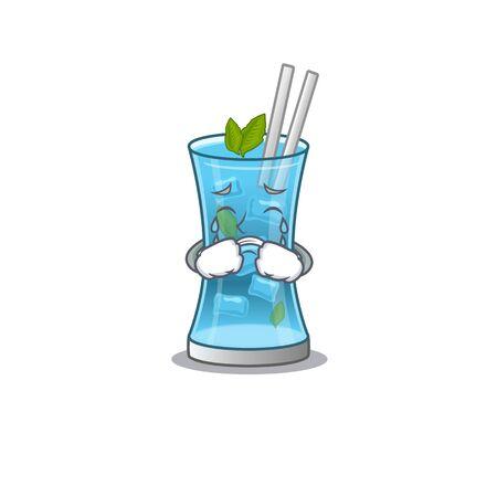 Caricature design of blue hawai cocktail having a sad face. Vector illustration