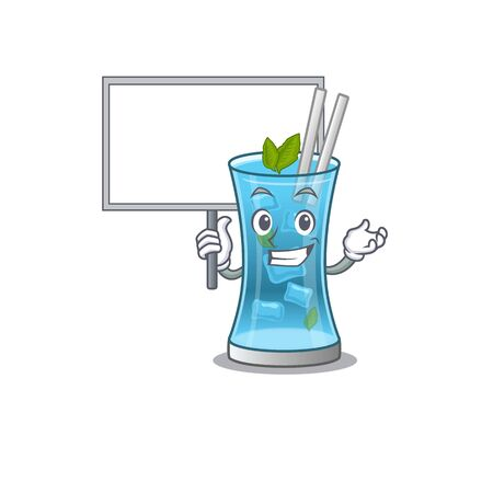 Cartoon picture of blue hawai cocktail mascot design style carries a board. Vector illustration