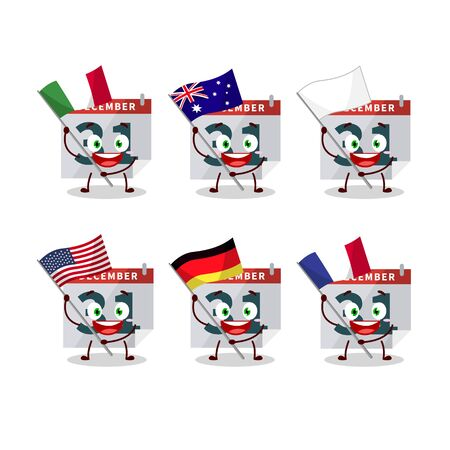 December 31th calendar cartoon character bring the flags of various countries. Vector illustration