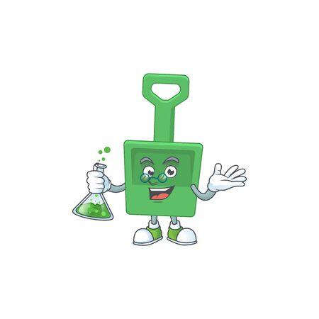 Green sand shovel smart Professor Cartoon character holding glass tube on the lab. Vector illustration Иллюстрация