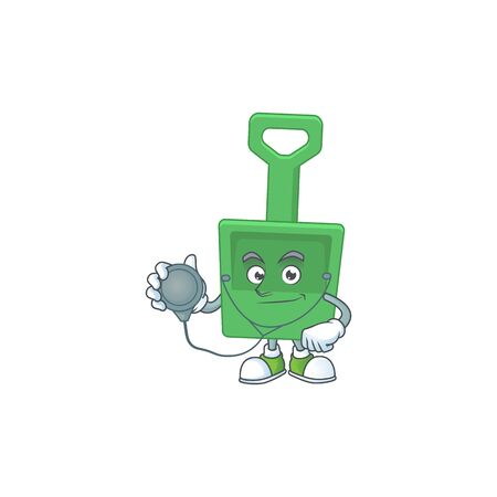Cartoon character of green sand shovel dedicated Doctor Work with stethoscope. Vector illustration