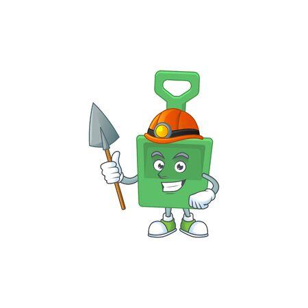 Green sand shovel as a miner cartoon character design. Vector illustration