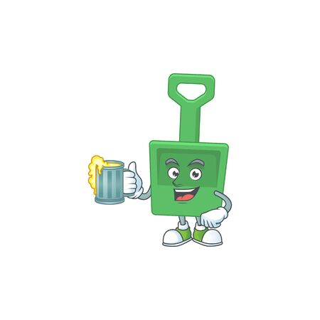 A cheerful green sand shovel cartoon mascot style toast with a glass of beer. Vector illustration