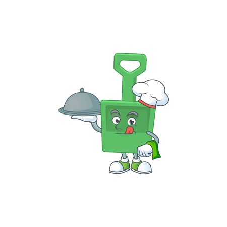 A green sand shovel chef cartoon mascot design with hat and tray. Vector illustration