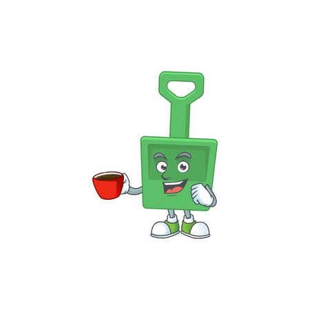 A mascot design character of green sand bucket drinking a cup of coffee. Vector illustration