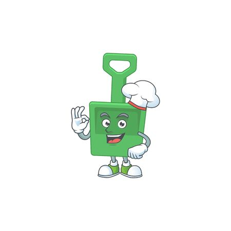 Green sand shovel chef cartoon drawing concept proudly wearing white hat. Vector illustration Çizim