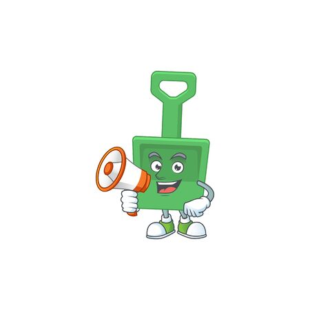 An image of green sand shovel cartoon design style with a megaphone. Vector illustration