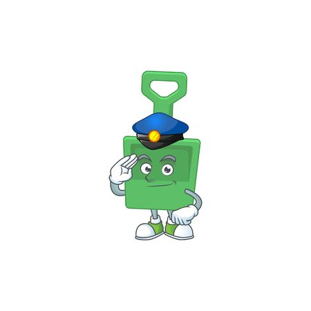 A dedicated Police officer of green sand bucket cartoon drawing concept. Vector illustration Ilustrace