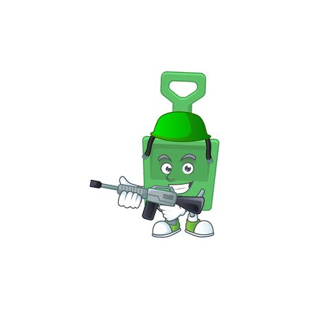 A mascot design picture of green sand shovel as a dedicated Army using automatic gun. Vector illustration