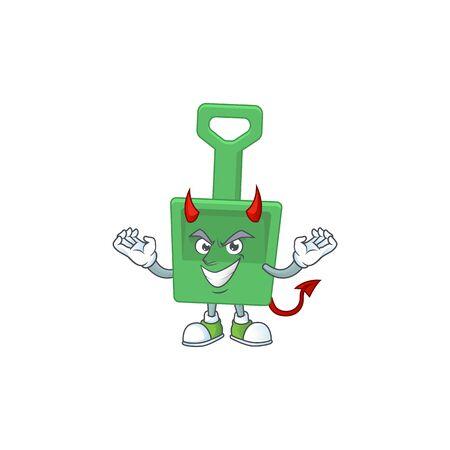 A cartoon image of green sand shovel as a devil character. Vector illustration