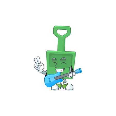 Green sand shovel cartoon character style plays music with a guitar. Vector illustration