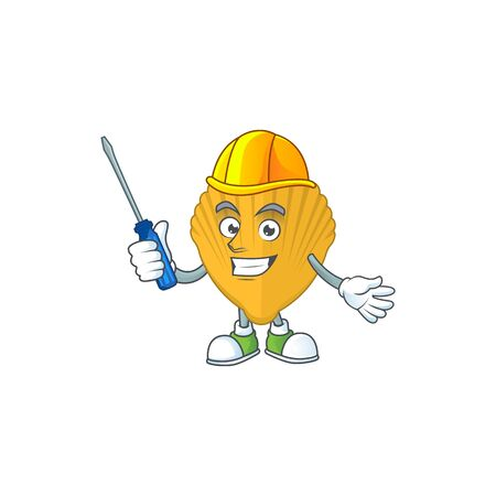 A cartoon image of yellow clamp in a automotive mechanic character. Vector illustration