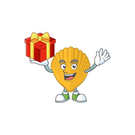 Yellow clamp cartoon mascot concept design with a red box of gift. Vector illustration
