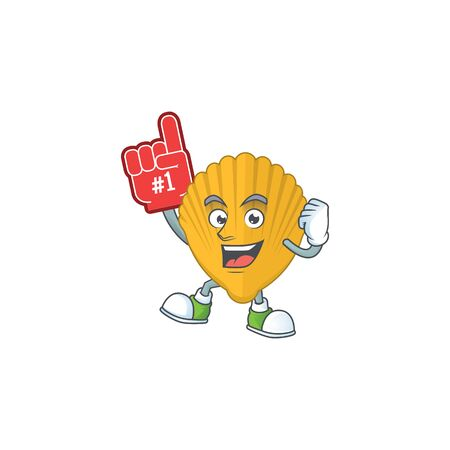 Yellow clamp Cartoon character design style with a red foam finger. Vector illustration