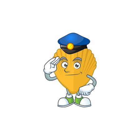 A dedicated Police officer of yellow clamp cartoon drawing concept. Vector illustration Çizim
