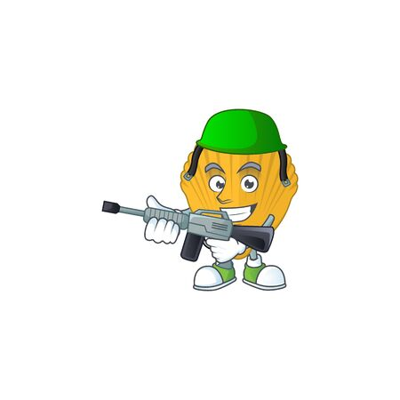 A mascot design picture of yellow clamp as a dedicated Army using automatic gun. Vector illustration