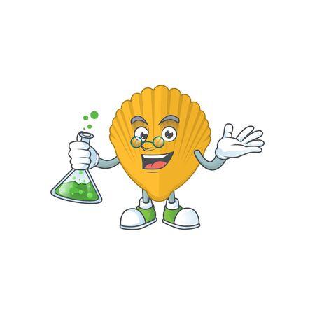 Yellow clamp smart Professor Cartoon character holding glass tube on the lab. Vector illustration Иллюстрация