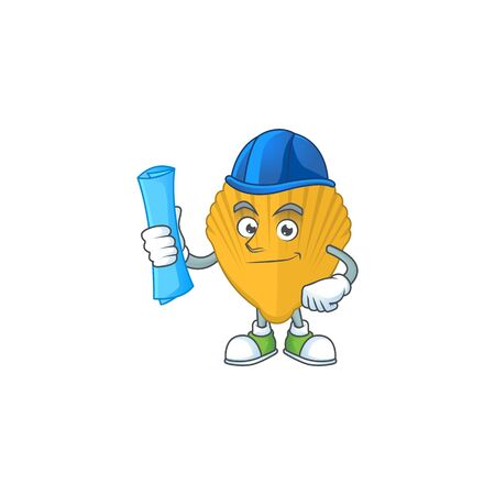 brilliant Architect yellow clamp mascot design style with blue prints and helmet. Vector illustration