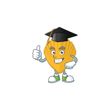 Happy face Mascot design concept of yellow clamp wearing a Graduation hat. Vector illustration