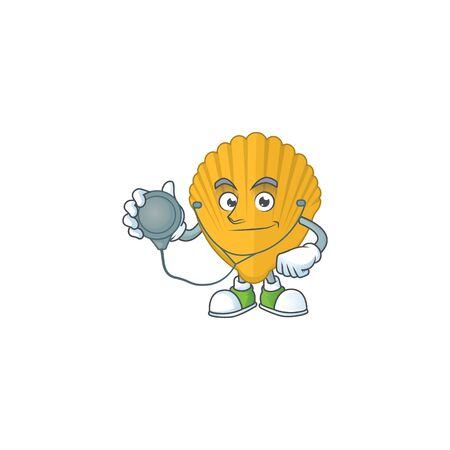 Cartoon character of yellow clamp dedicated Doctor Work with stethoscope. Vector illustration