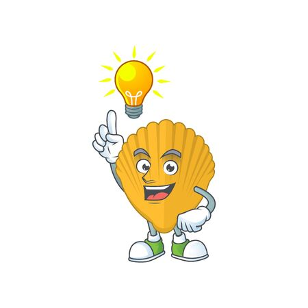 A brilliance yellow clamp cartoon design concept have an idea. Vector illustration