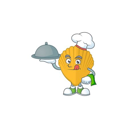 A yellow clamp chef cartoon mascot design with hat and tray. Vector illustration